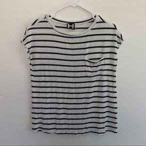 H by Bordeaux White & Black Striped Knit Top XS